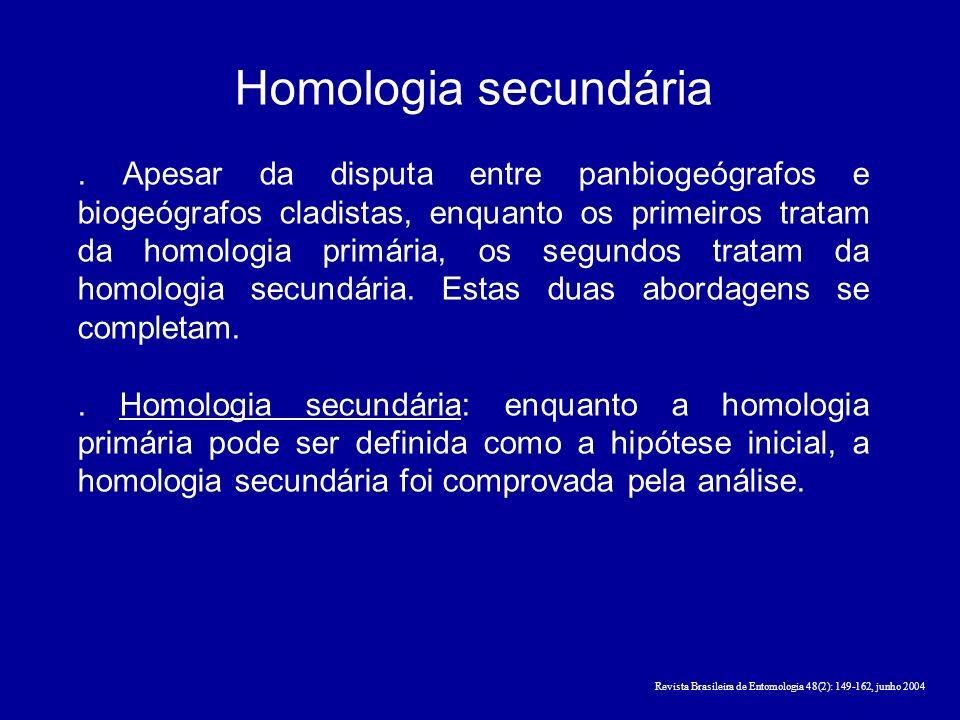 Homologia secundária. Apesar da disputa entre panbiogeógrafos e biogeógrafos cladistas, enquanto os primeiros tratam da homologia primária, os segundo