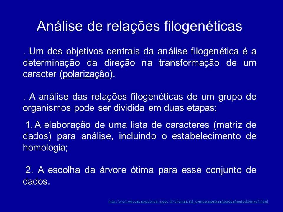 Análise de relações filogenéticas. Um dos objetivos centrais da análise filogenética é a determinação da direção na transformação de um caracter (pola