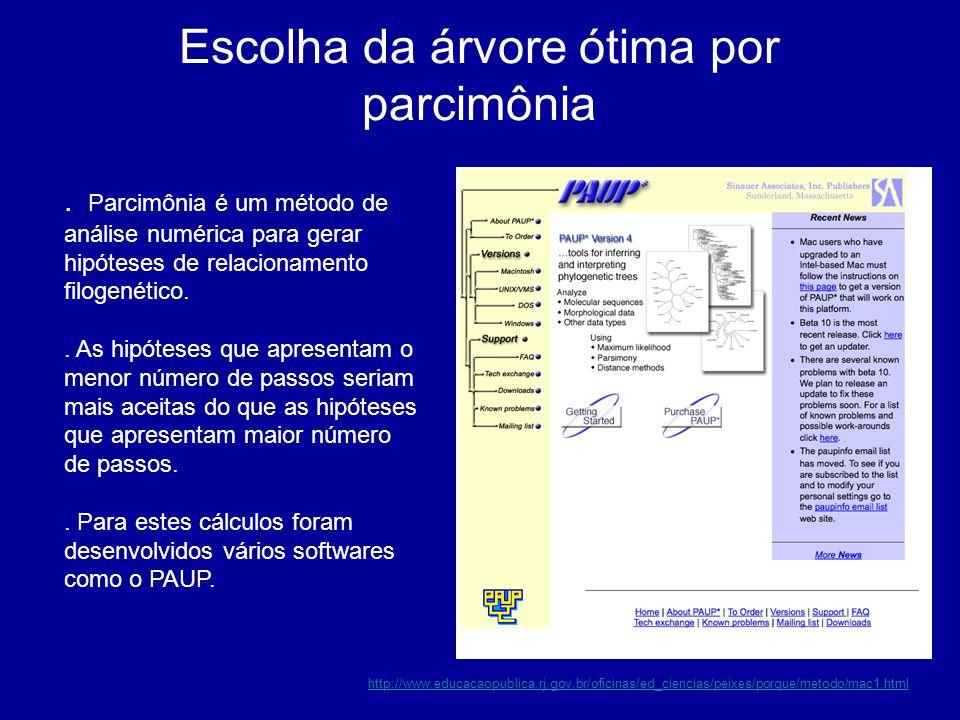 . Parcimônia é um método de análise numérica para gerar hipóteses de relacionamento filogenético.. As hipóteses que apresentam o menor número de passo
