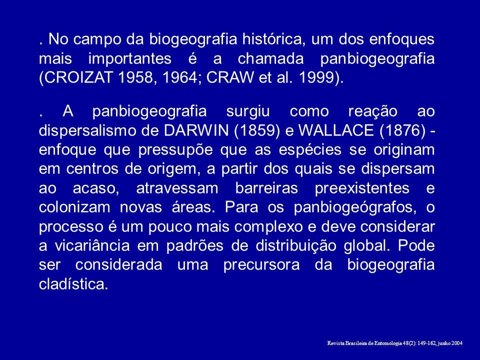 . No campo da biogeografia histórica, um dos enfoques mais importantes é a chamada panbiogeografia (CROIZAT 1958, 1964; CRAW et al. 1999).. A panbioge