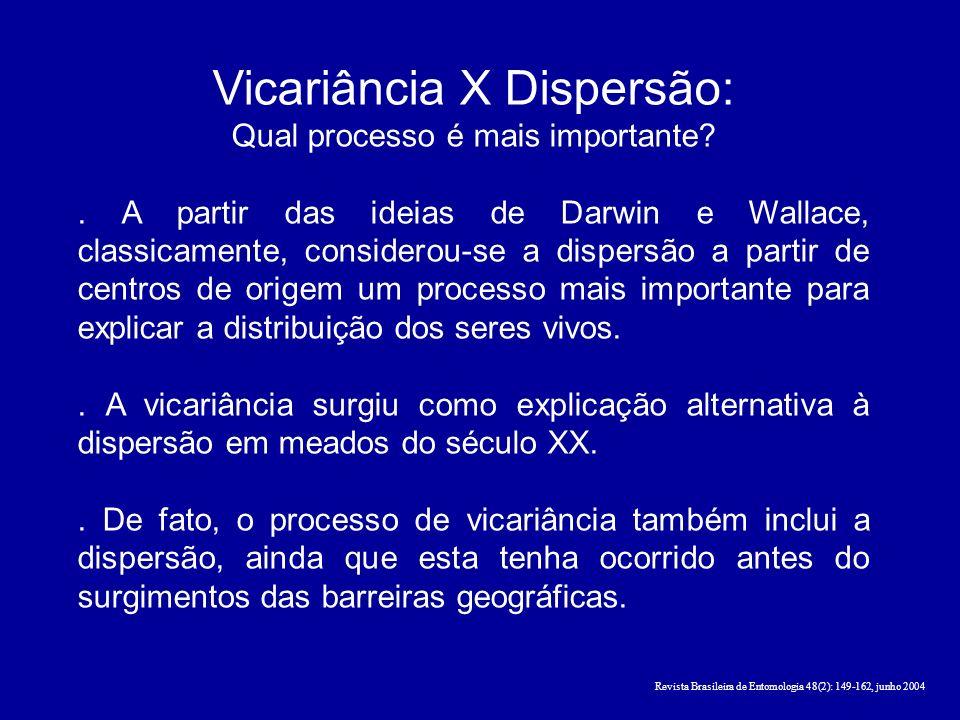 Vicariância X Dispersão: Qual processo é mais importante?. A partir das ideias de Darwin e Wallace, classicamente, considerou-se a dispersão a partir