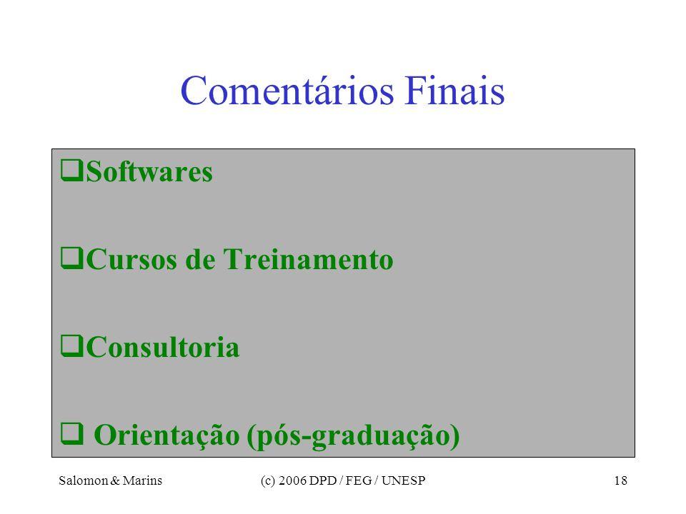 Salomon & Marins(c) 2006 DPD / FEG / UNESP18 Comentários Finais Softwares Cursos de Treinamento Consultoria Orientação (pós-graduação)