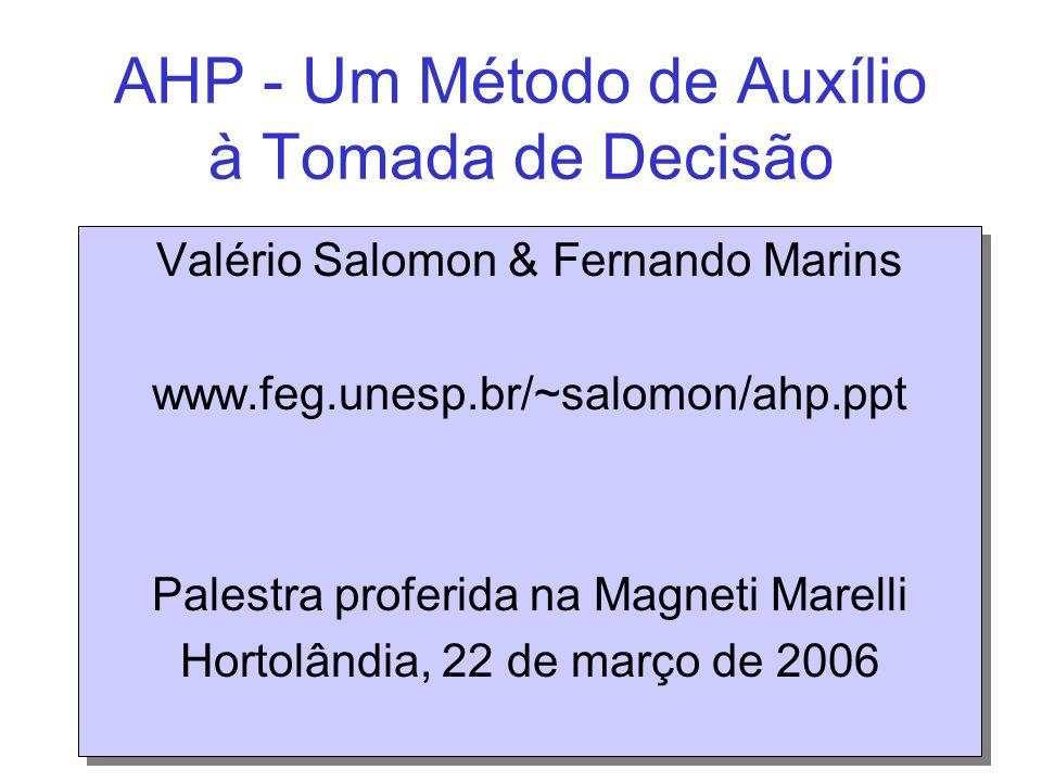 AHP - Um Método de Auxílio à Tomada de Decisão Valério Salomon & Fernando Marins www.feg.unesp.br/~salomon/ahp.ppt Palestra proferida na Magneti Marel