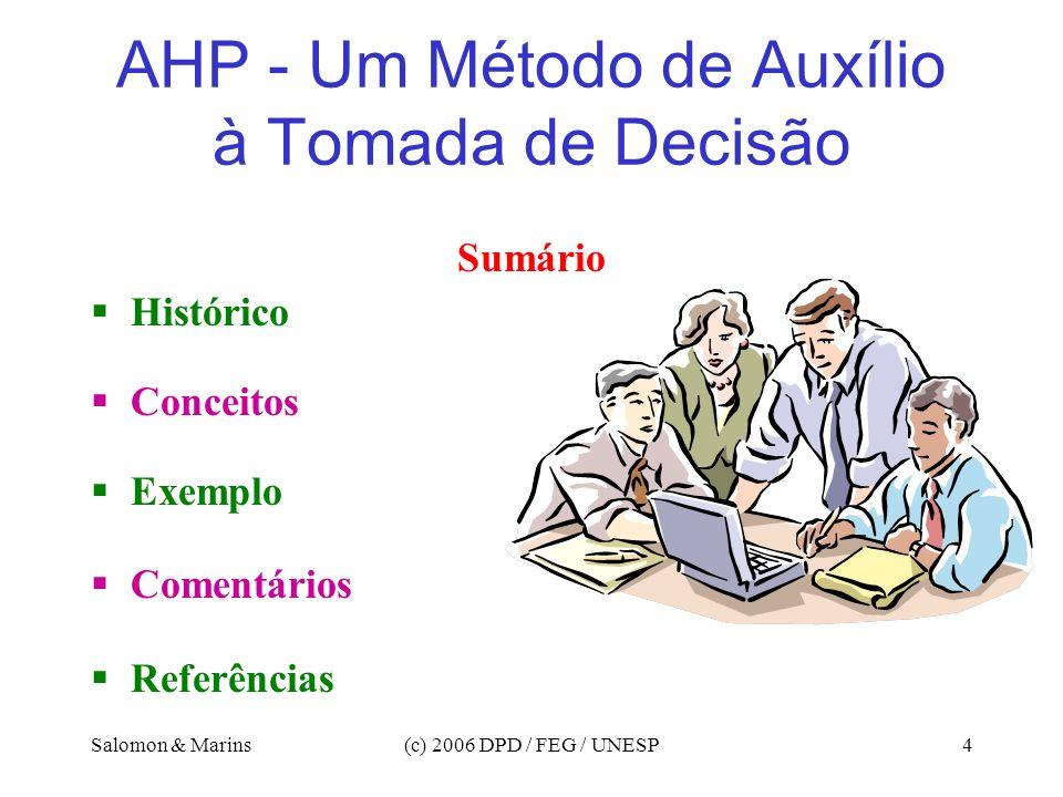 Salomon & Marins(c) 2006 DPD / FEG / UNESP4 AHP - Um Método de Auxílio à Tomada de Decisão Sumário Histórico Conceitos Exemplo Comentários Referências