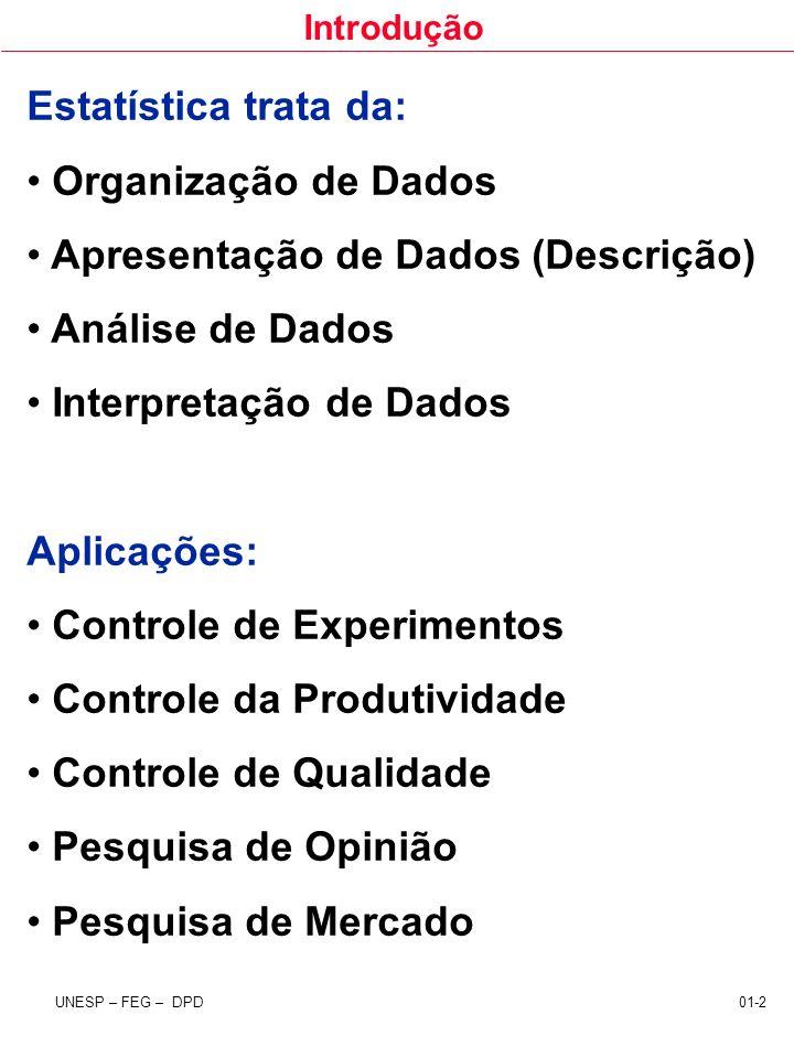 Introdução UNESP – FEG – DPD 01-2 Estatística trata da: Organização de Dados Apresentação de Dados (Descrição) Análise de Dados Interpretação de Dados
