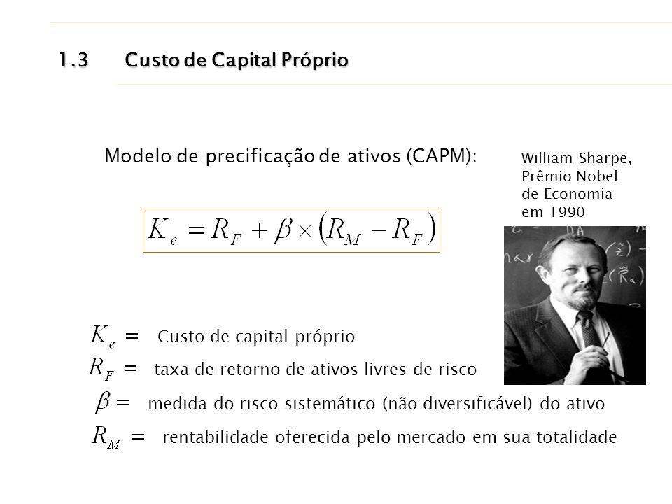 1.3Custo de Capital Próprio Custo de capital próprio taxa de retorno de ativos livres de risco medida do risco sistemático (não diversificável) do ati