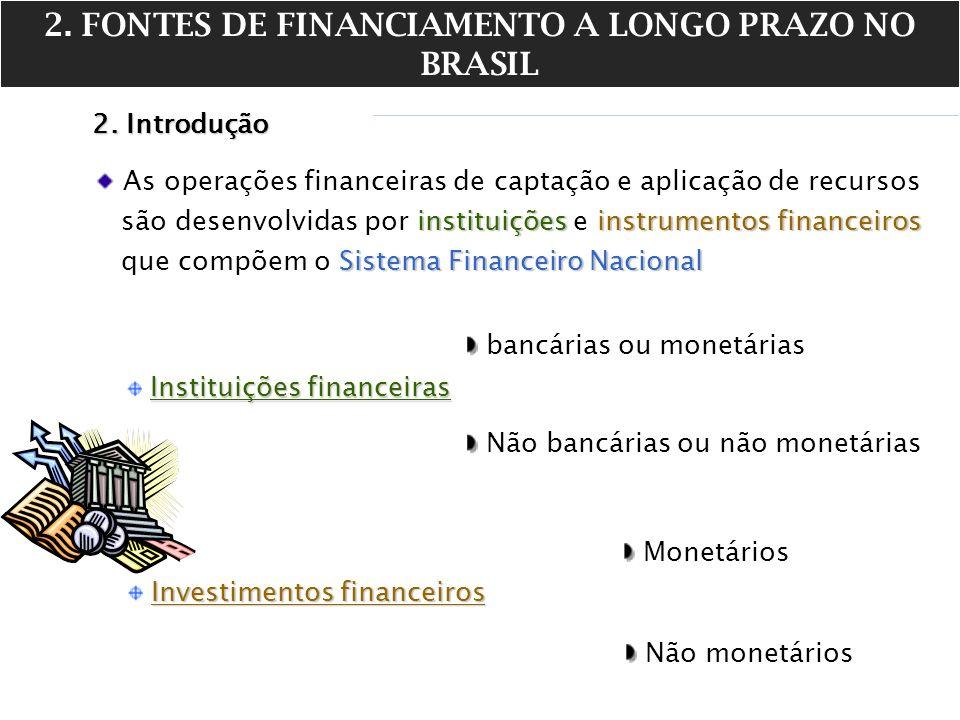 2. FONTES DE FINANCIAMENTO A LONGO PRAZO NO BRASIL 2. Introdução As operações financeiras de captação e aplicação de recursos instituiçõesinstrumentos