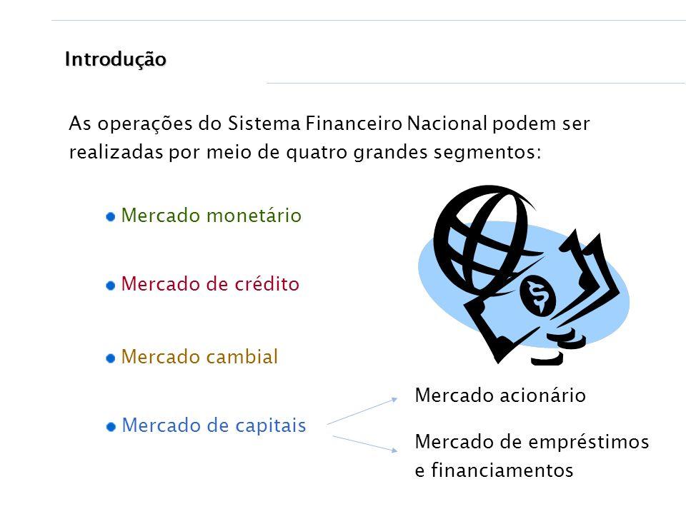 Introdução As operações do Sistema Financeiro Nacional podem ser realizadas por meio de quatro grandes segmentos: Mercado cambial Mercado monetário Me