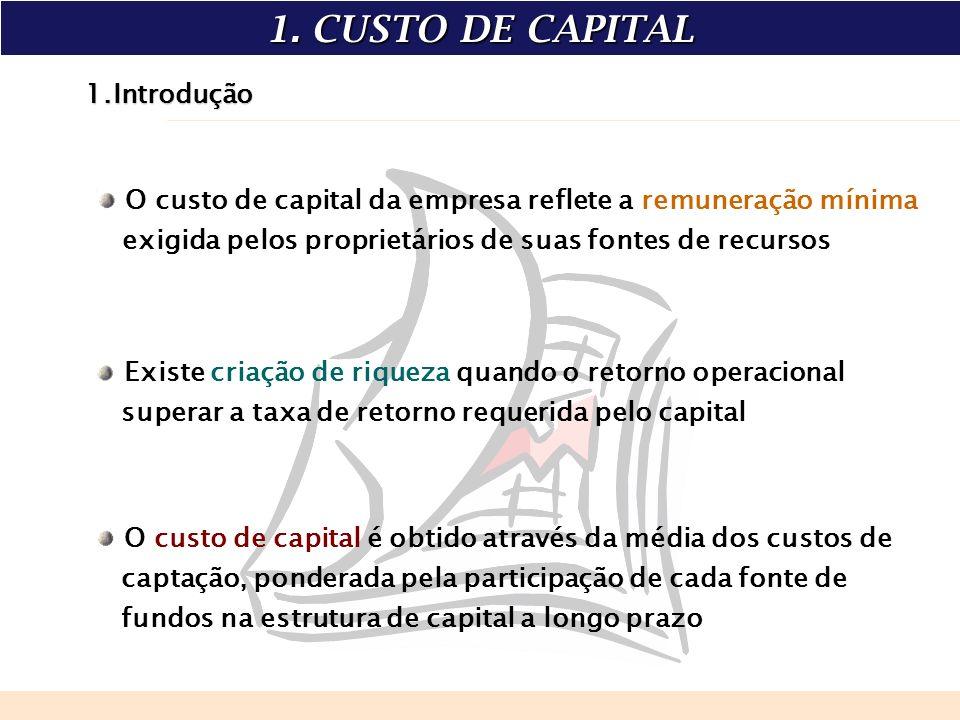 1.Introdução O custo de capital da empresa reflete a remuneração mínima exigida pelos proprietários de suas fontes de recursos Existe criação de rique