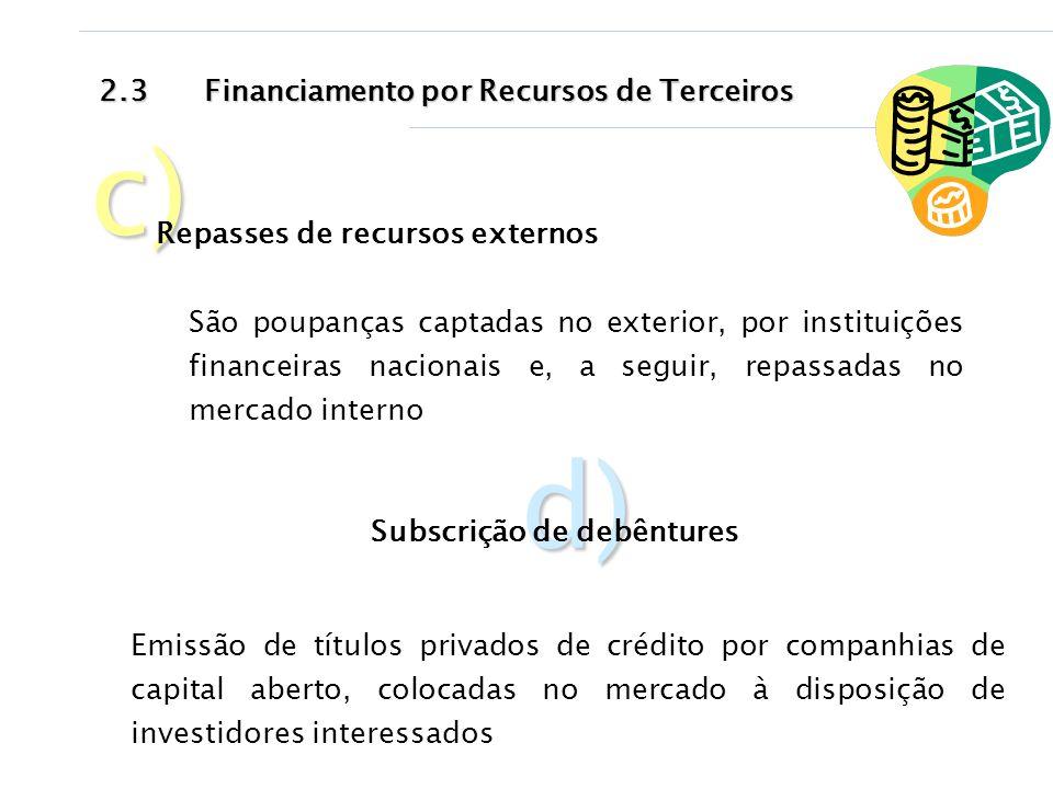 2.3Financiamento por Recursos de Terceiros c) Repasses de recursos externos d) Subscrição de debêntures São poupanças captadas no exterior, por instit