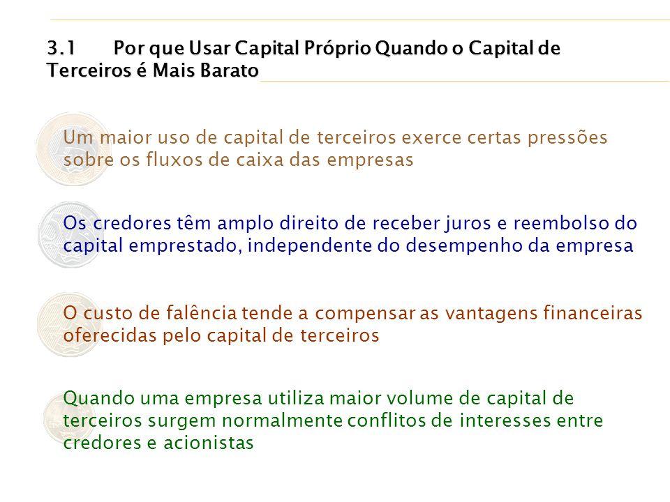 Um maior uso de capital de terceiros exerce certas pressões sobre os fluxos de caixa das empresas Os credores têm amplo direito de receber juros e ree