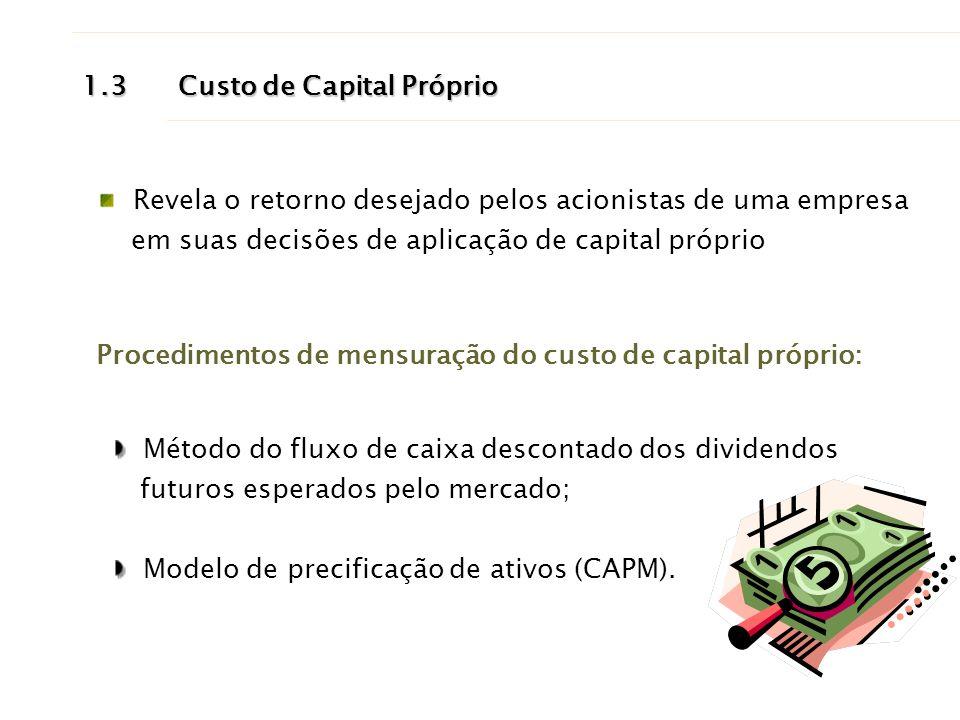 1.3Custo de Capital Próprio Revela o retorno desejado pelos acionistas de uma empresa em suas decisões de aplicação de capital próprio Procedimentos d