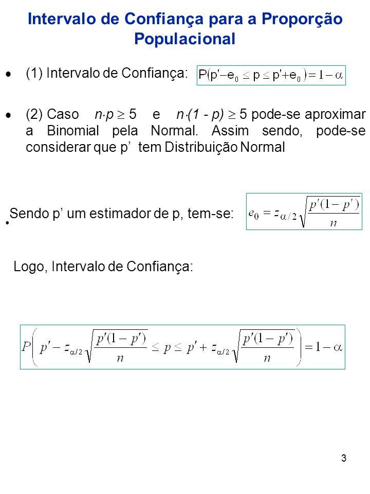 3 (1) Intervalo de Confiança: (2) Caso n p 5 e n (1 - p) 5 pode-se aproximar a Binomial pela Normal. Assim sendo, pode-se considerar que p tem Distrib