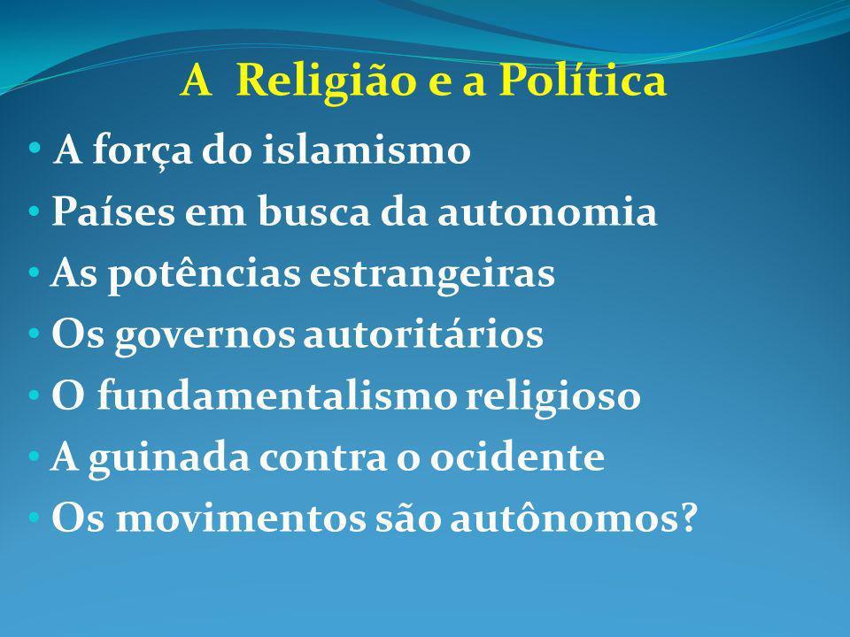 A Religião e a Política A força do islamismo Países em busca da autonomia As potências estrangeiras Os governos autoritários O fundamentalismo religio