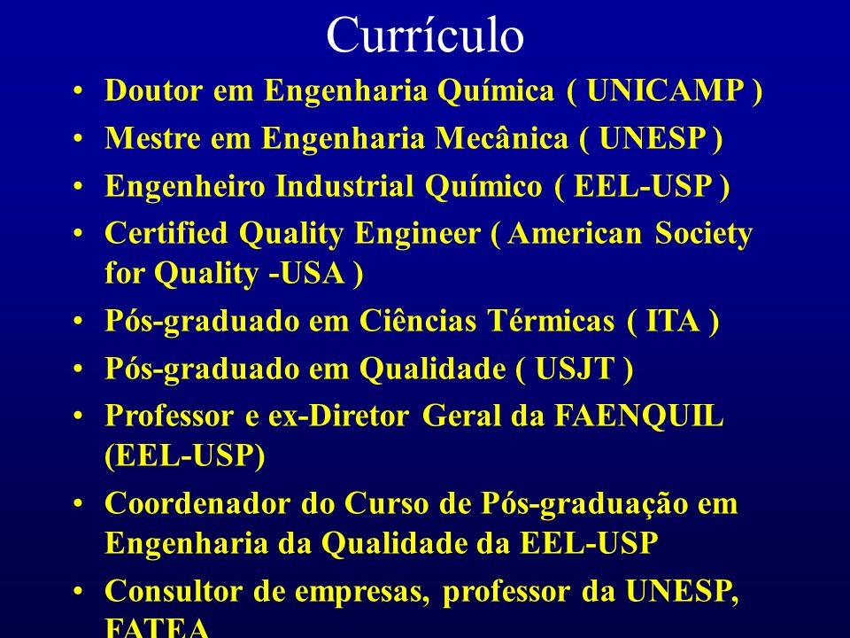 Currículo Doutor em Engenharia Química ( UNICAMP ) Mestre em Engenharia Mecânica ( UNESP ) Engenheiro Industrial Químico ( EEL-USP ) Certified Quality Engineer ( American Society for Quality -USA ) Pós-graduado em Ciências Térmicas ( ITA ) Pós-graduado em Qualidade ( USJT ) Professor e ex-Diretor Geral da FAENQUIL (EEL-USP) Coordenador do Curso de Pós-graduação em Engenharia da Qualidade da EEL-USP Consultor de empresas, professor da UNESP, FATEA