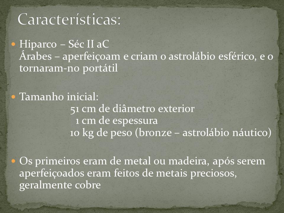 Hiparco – Séc II aC Árabes – aperfeiçoam e criam o astrolábio esférico, e o tornaram-no portátil Tamanho inicial: 51 cm de diâmetro exterior 1 cm de e