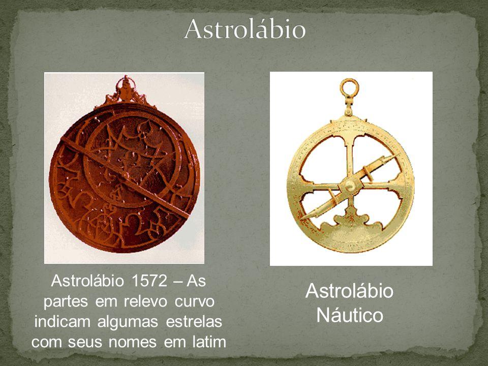 Astrolábio 1572 – As partes em relevo curvo indicam algumas estrelas com seus nomes em latim Astrolábio Náutico
