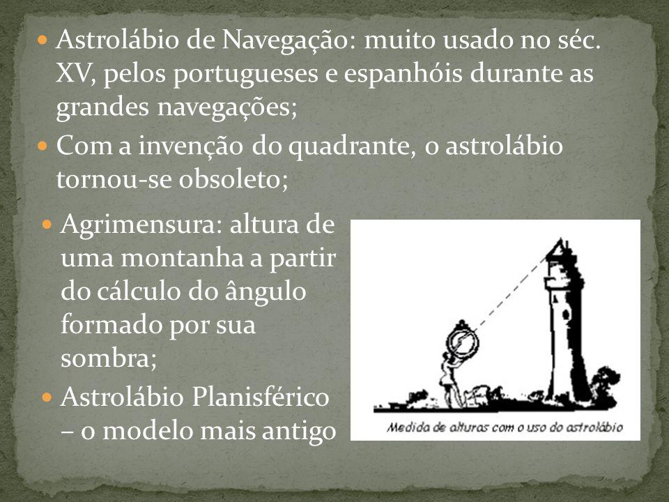Agrimensura: altura de uma montanha a partir do cálculo do ângulo formado por sua sombra; Astrolábio Planisférico – o modelo mais antigo Astrolábio de