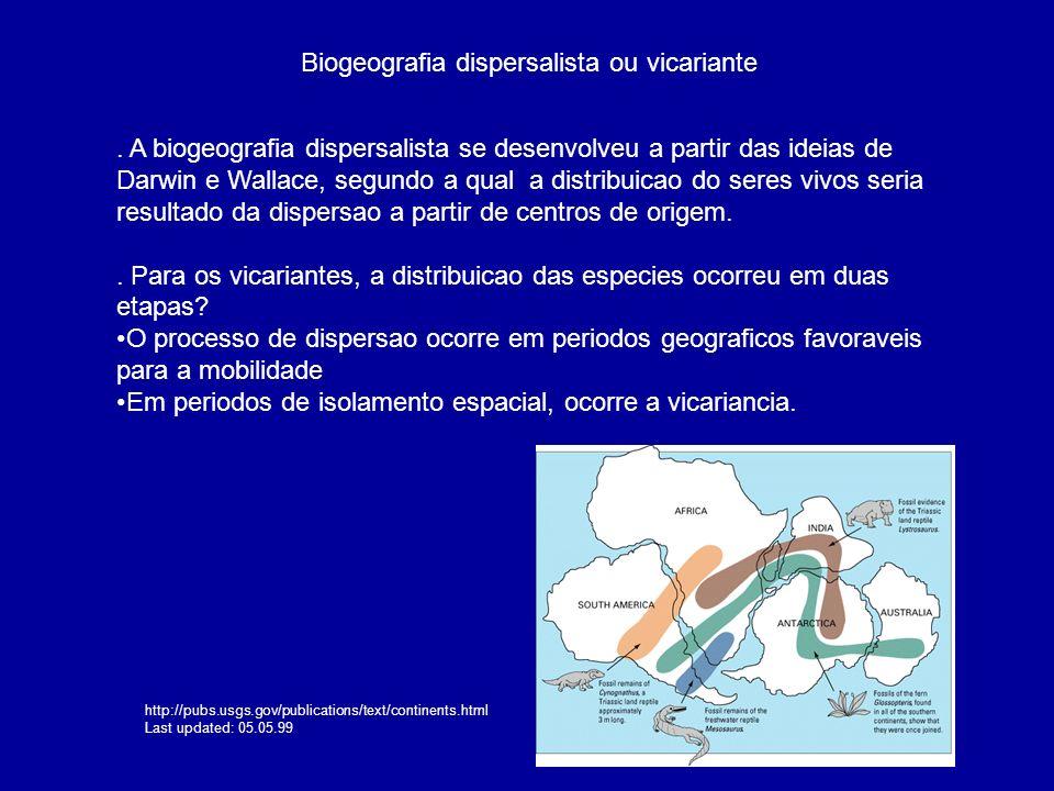 Biogeografia dispersalista ou vicariante. A biogeografia dispersalista se desenvolveu a partir das ideias de Darwin e Wallace, segundo a qual a distri