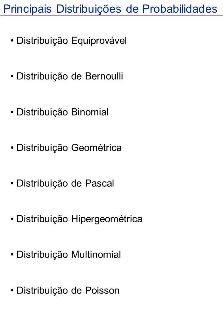 Distribuição Equiprovável Distribuição de Bernoulli Distribuição Binomial Distribuição Geométrica Distribuição de Pascal Distribuição Hipergeométrica