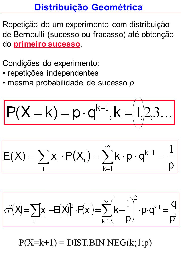 Repetição de um experimento com distribuição de Bernoulli (sucesso ou fracasso) até obtenção do primeiro sucesso. Condições do experimento: repetições