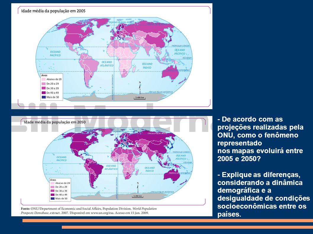 - De acordo com as projeções realizadas pela ONU, como o fenômeno representado nos mapas evoluirá entre 2005 e 2050? - Explique as diferenças, conside
