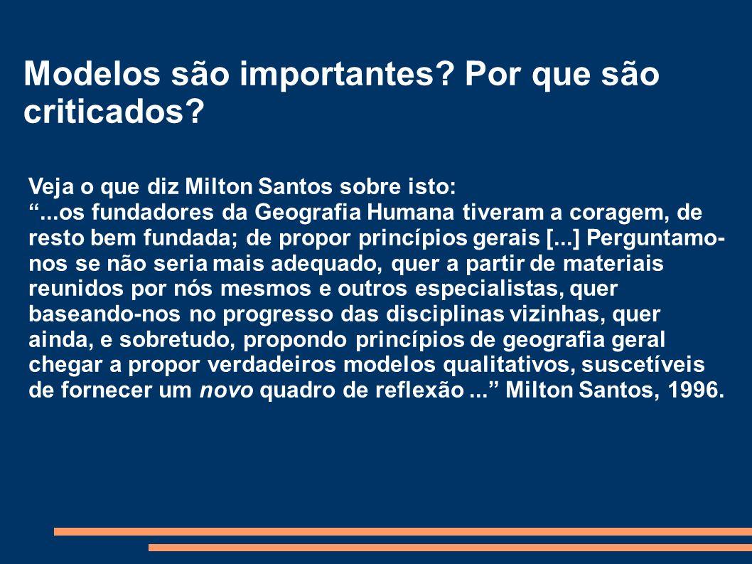 Modelos são importantes? Por que são criticados? Veja o que diz Milton Santos sobre isto:...os fundadores da Geografia Humana tiveram a coragem, de re