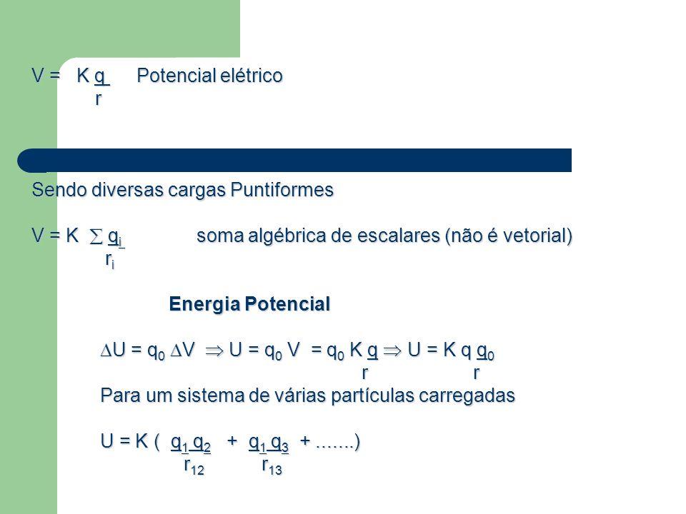 V = K q Potencial elétrico r Sendo diversas cargas Puntiformes V = K q i soma algébrica de escalares (não é vetorial) r i r i Energia Potencial U = q