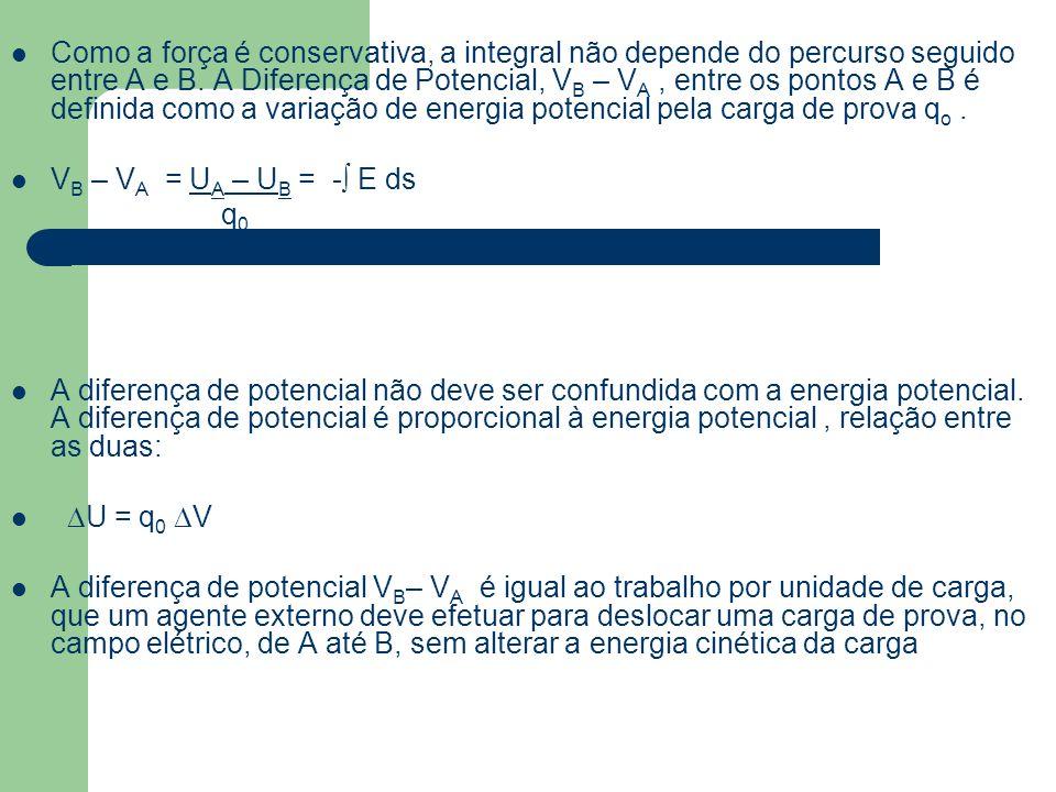 Como a força é conservativa, a integral não depende do percurso seguido entre A e B. A Diferença de Potencial, V B – V A, entre os pontos A e B é defi