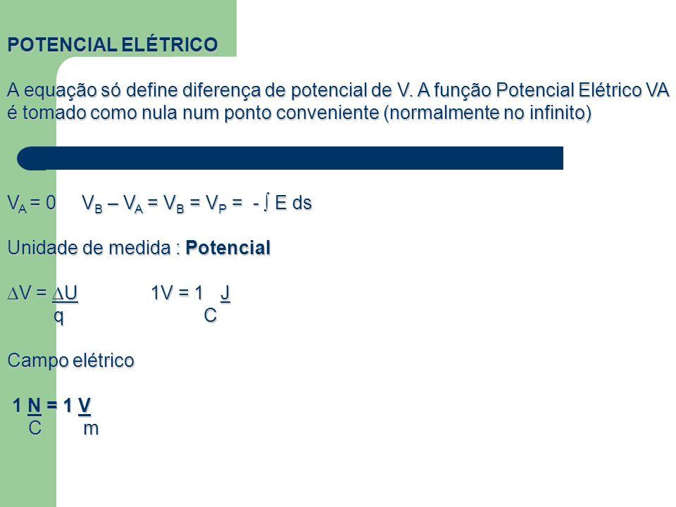 POTENCIAL ELÉTRICO A equação só define diferença de potencial de V. A função Potencial Elétrico VA é tomado como nula num ponto conveniente (normalmen