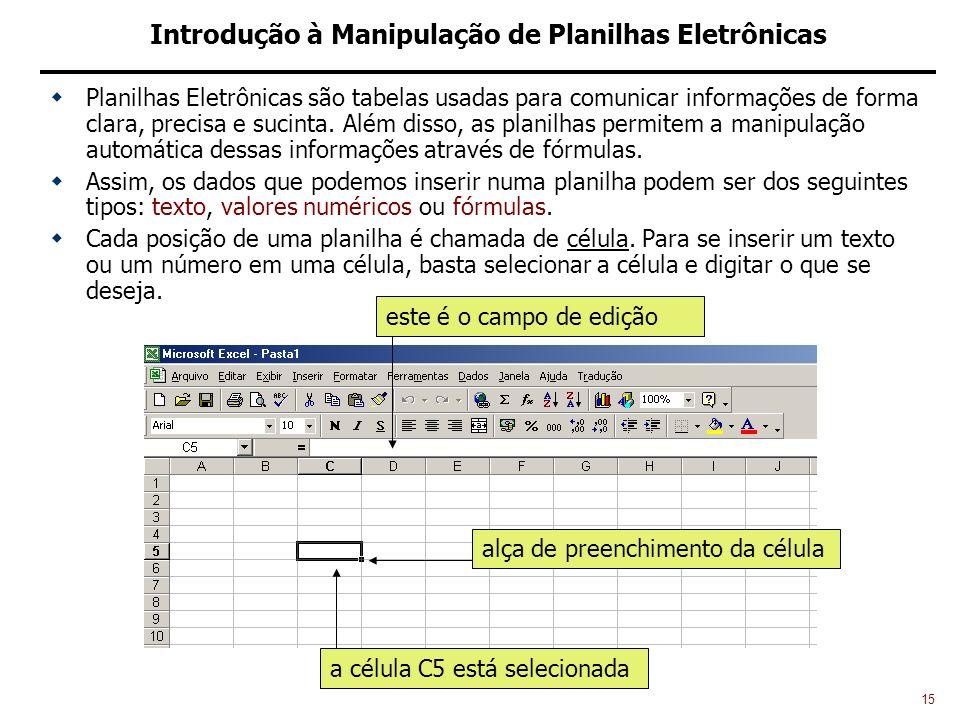 15 Introdução à Manipulação de Planilhas Eletrônicas Planilhas Eletrônicas são tabelas usadas para comunicar informações de forma clara, precisa e sucinta.