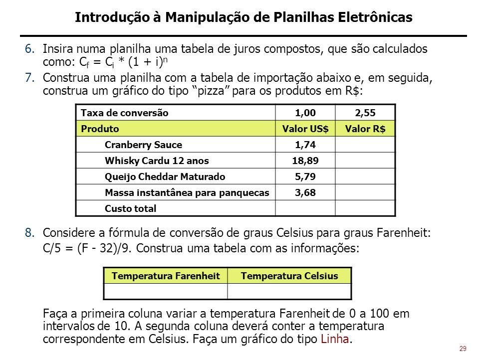 29 Introdução à Manipulação de Planilhas Eletrônicas 6.Insira numa planilha uma tabela de juros compostos, que são calculados como: C f = C i * (1 + i) n 7.Construa uma planilha com a tabela de importação abaixo e, em seguida, construa um gráfico do tipo pizza para os produtos em R$: 8.Considere a fórmula de conversão de graus Celsius para graus Farenheit: C/5 = (F - 32)/9.
