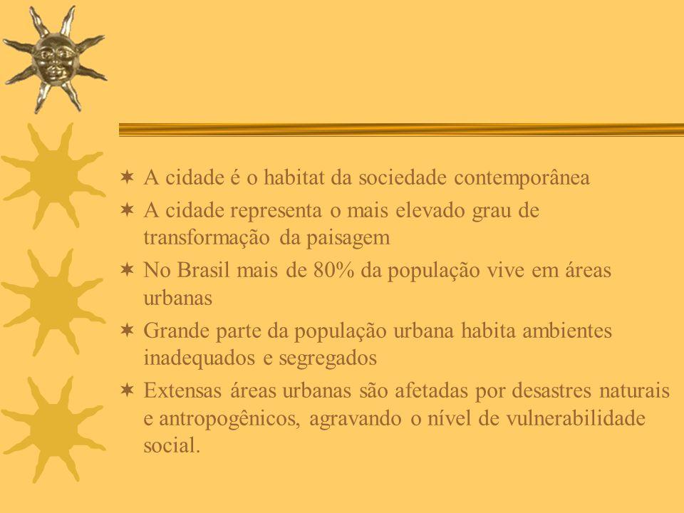 A cidade é o habitat da sociedade contemporânea A cidade representa o mais elevado grau de transformação da paisagem No Brasil mais de 80% da populaçã