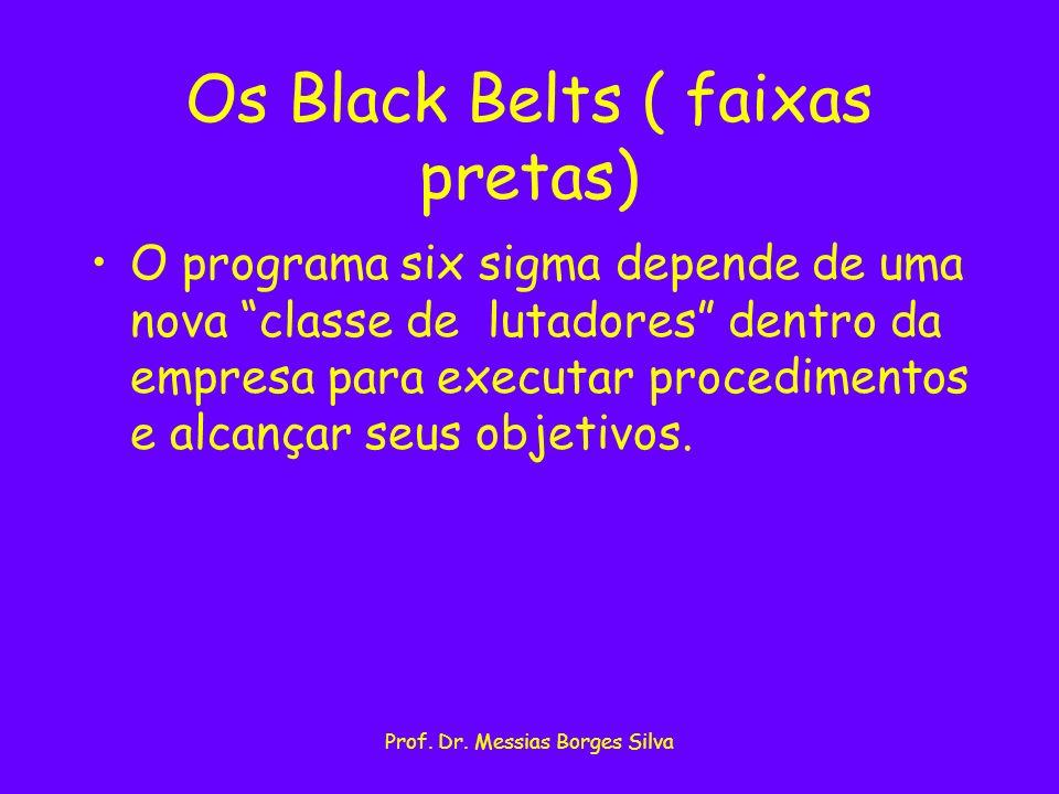 Prof. Dr. Messias Borges Silva Os Black Belts ( faixas pretas) O programa six sigma depende de uma nova classe de lutadores dentro da empresa para exe