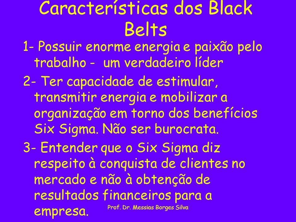 Prof. Dr. Messias Borges Silva Características dos Black Belts 1- Possuir enorme energia e paixão pelo trabalho - um verdadeiro líder 2- Ter capacidad