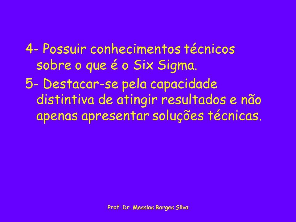 Prof. Dr. Messias Borges Silva 4- Possuir conhecimentos técnicos sobre o que é o Six Sigma. 5- Destacar-se pela capacidade distintiva de atingir resul