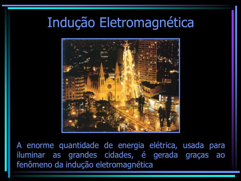 Indução Eletromagnética A enorme quantidade de energia elétrica, usada para iluminar as grandes cidades, é gerada graças ao fenômeno da indução eletro