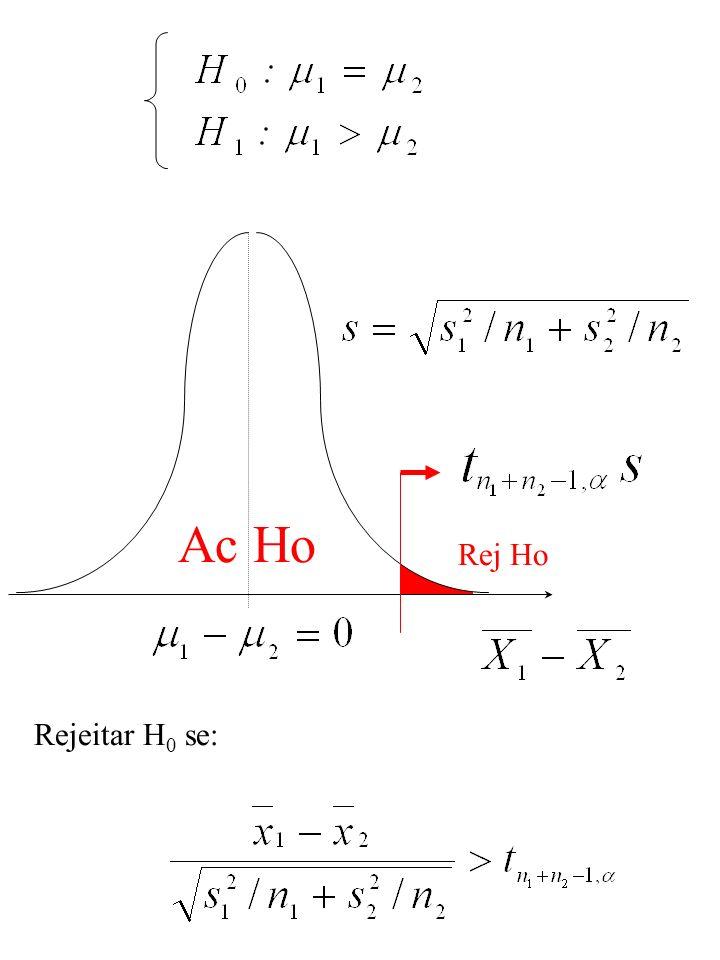 Ac Ho Rej Ho Rejeitar H 0 se: