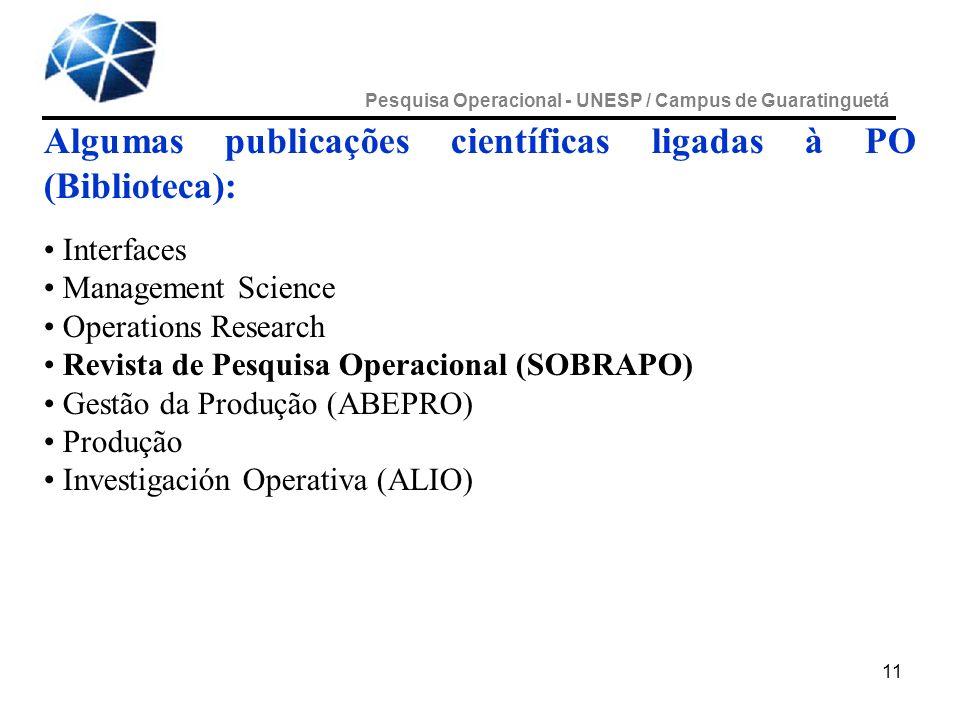 11 Algumas publicações científicas ligadas à PO (Biblioteca): Interfaces Management Science Operations Research Revista de Pesquisa Operacional (SOBRA