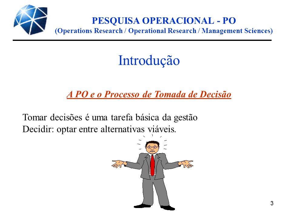 3 PESQUISA OPERACIONAL - PO (Operations Research / Operational Research / Management Sciences) Introdução A PO e o Processo de Tomada de Decisão Tomar