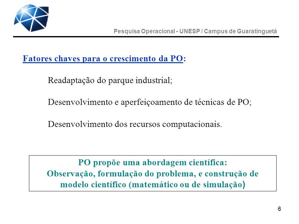 7 A natureza PO é aplicada a problemas associados a condução e a coordenação de operações ou atividades numa organização.