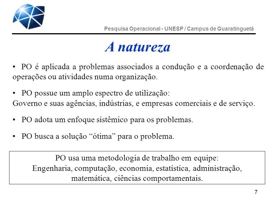 7 A natureza PO é aplicada a problemas associados a condução e a coordenação de operações ou atividades numa organização. PO possue um amplo espectro