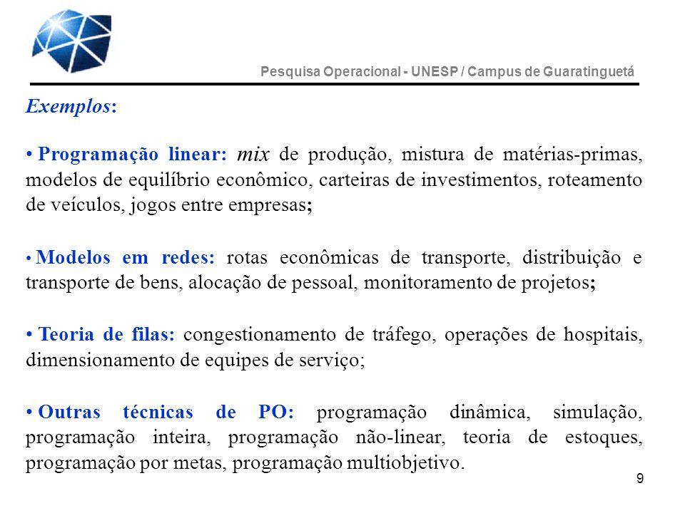 9 Exemplos: Programação linear: mix de produção, mistura de matérias-primas, modelos de equilíbrio econômico, carteiras de investimentos, roteamento d