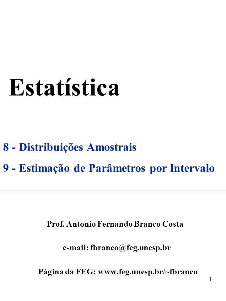 1 Estatística 8 - Distribuições Amostrais 9 - Estimação de Parâmetros por Intervalo Prof. Antonio Fernando Branco Costa e-mail: fbranco@feg.unesp.br P