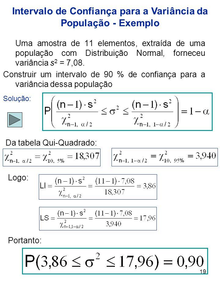 19 Uma amostra de 11 elementos, extraída de uma população com Distribuição Normal, forneceu variância s 2 = 7,08. Construir um intervalo de 90 % de co