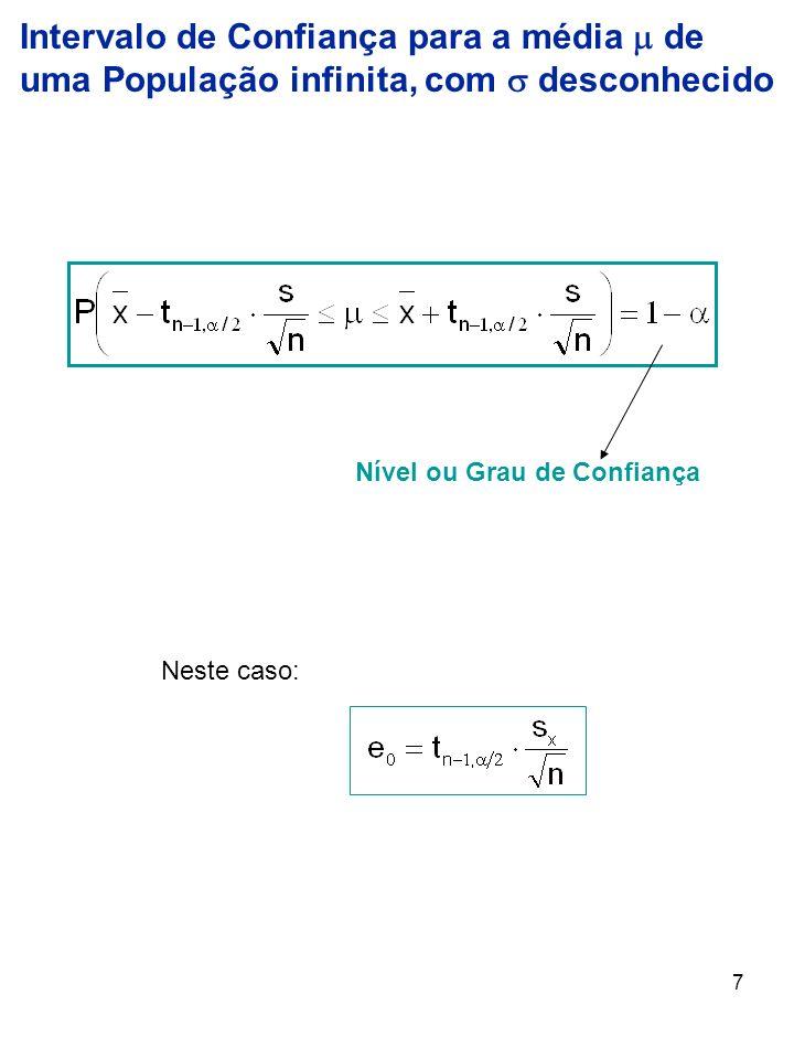 8 Exemplo: Uma amostra de 4 elementos extraídas de uma população com Distribuição Normal forneceu média = 8,20 e desvio-padrão s = 0,40.