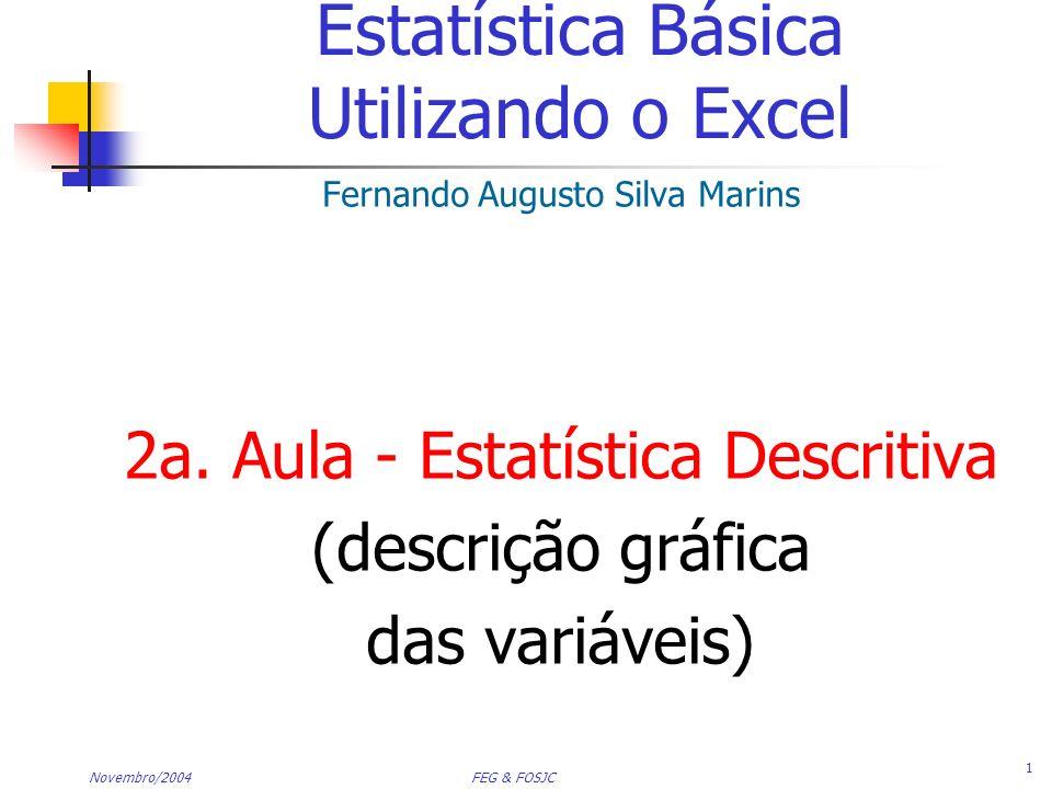 Novembro/2004 FEG & FOSJC 2 Tópicos Organização de Dados Numéricos A Disposição Ordenada e a Disposição Ramo-e-Folha (Stem-leaf Display) Tabulação e Gráficos com Dados Numéricos Distribuições de Freqüência: tabelas, Histogramas, Polígonos de Freqüência Distribuições Acumuladas: tabelas e a Ogiva