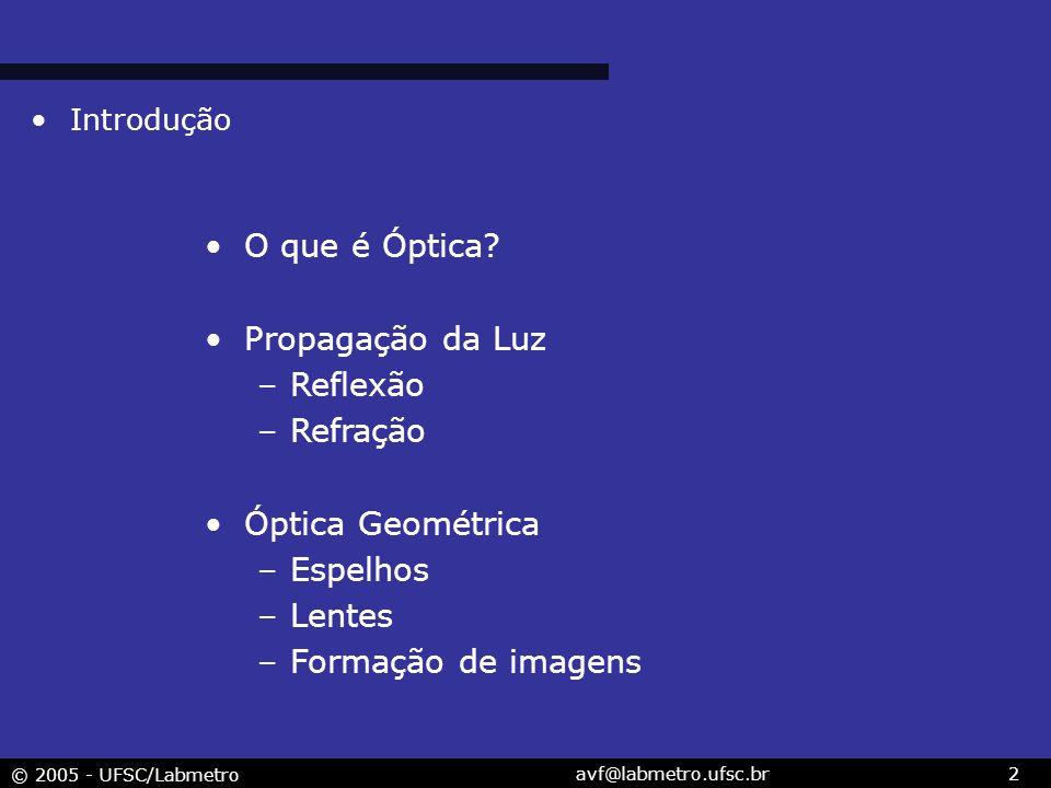 © 2005 - UFSC/Labmetro avf@labmetro.ufsc.br2 Introdução O que é Óptica? Propagação da Luz –Reflexão –Refração Óptica Geométrica –Espelhos –Lentes –For