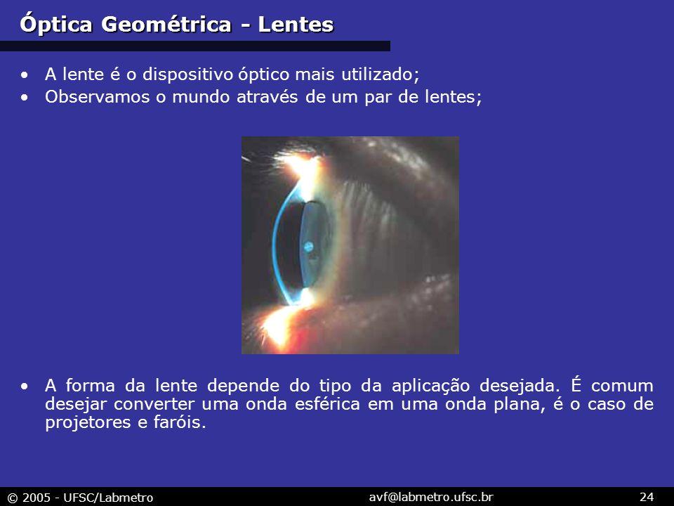 © 2005 - UFSC/Labmetro avf@labmetro.ufsc.br24 Óptica Geométrica - Lentes A lente é o dispositivo óptico mais utilizado; Observamos o mundo através de um par de lentes; A forma da lente depende do tipo da aplicação desejada.