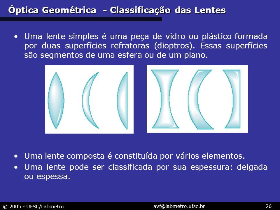 © 2005 - UFSC/Labmetro avf@labmetro.ufsc.br26 Óptica Geométrica - Classificação das Lentes Uma lente simples é uma peça de vidro ou plástico formada por duas superfícies refratoras (dioptros).